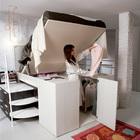 Попасть в гардероб под кроватью можно подняв спальное место кровати. (хранение,гардероб,шкаф,комод,мебель,спальня,современный)