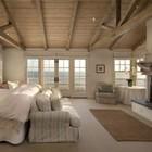 Камин создает уют в спальне дома на калифорнийском побережье.. (камин,спальня,средиземноморский,архитектура,дизайн,интерьер,экстерьер)