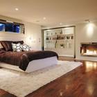 Современный интерьер спальни с газовым камином. (камин,спальня,традиционный,архитектура,дизайн,интерьер,экстерьер)