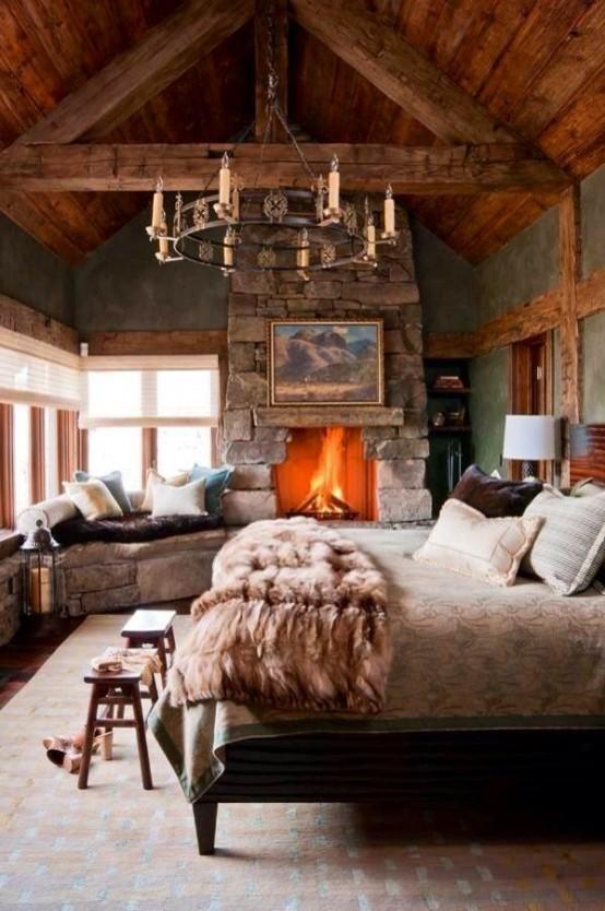 В такой спальне деревенского стиля можно легко почувствовать себя где-то в горах.