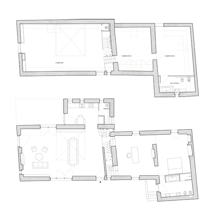 План дома. Второй и первый этажи соответственно.