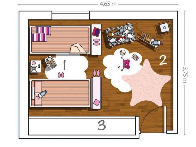 План комнаты. 1 - спальная зона; 2 - игровая зона; 3 - плательный шкаф.
