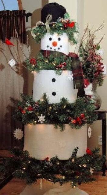 Снеговик из круглых картонных коробок.