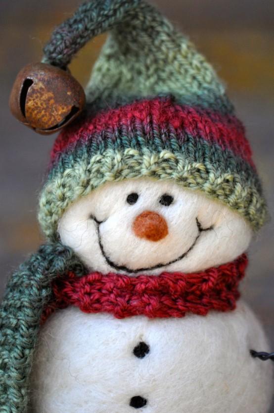 Снеговик из шерстяных шариков.