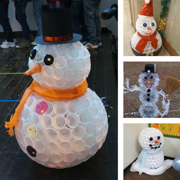 Снеговики из одноразовых стаканчиков.