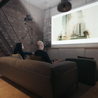 На экран домашнего кинотеатра можно смотреть как с нижнего так и с верхнего уровня. (квартиры,апартаменты,архитектура,дизайн,экстерьер,интерьер,дизайн интерьера,мебель,индустриальный,лофт,винтаж,стиль лофт,индустриальный стиль,минимализм,современный,гостиная,дизайн гостиной,интерьер гостиной,мебель для гостиной,жилая комната,кинозал,медиа комната,кинотеатр)