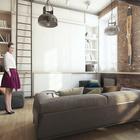 Одна из стен жилой комнаты полностью от пола до потолка занята шкафами где прячется множество вещей, включая обеденный стол и раскладные стулья.
