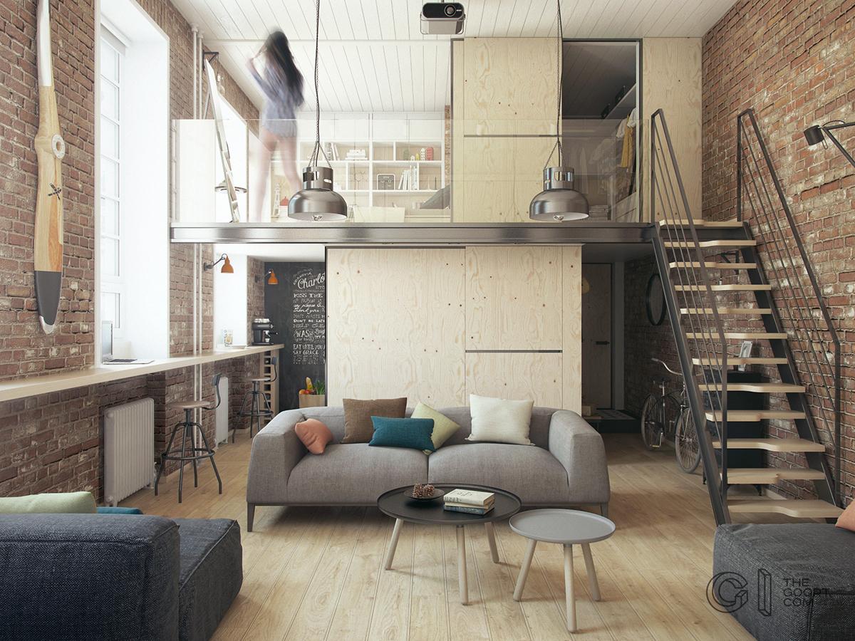 Конструкция ванной и гардероба на втором уровне выполнена из фанеры, которая органично вписывается в интерьер в стиле лофт, и, одновременно, делает помещение светлее.
