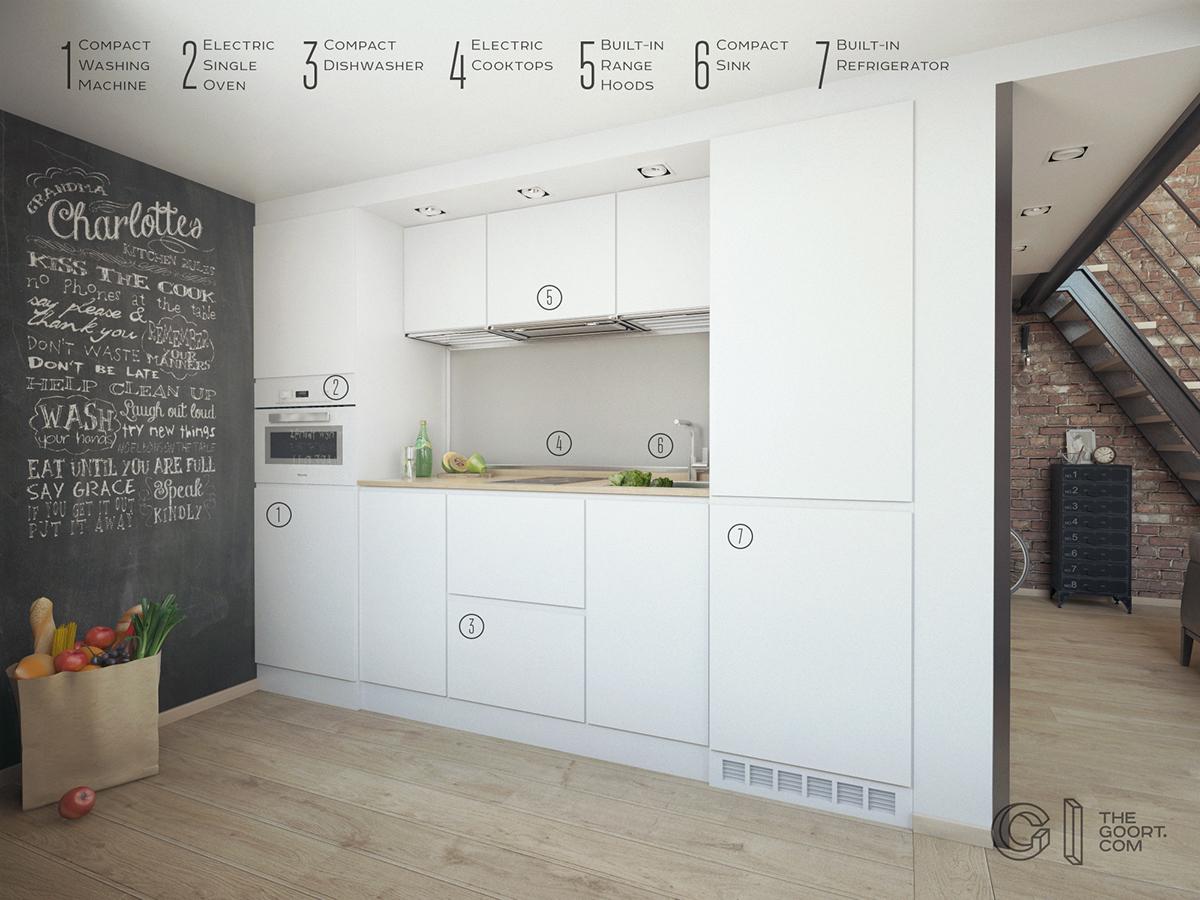 На кухне вся бытовая техника встроенная с белыми фасадами. На единственной стене кухни можно рисовать мелом.