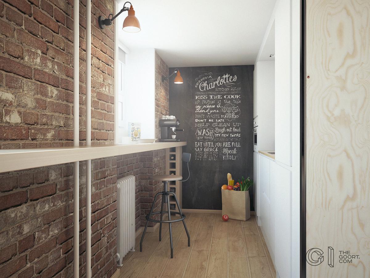 Широкий подоконник на кухне служит барной стойкой для завтраков и рабочим местом, при необходимости.