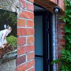 Оконные и дверные проемы обложены красным кирпичом и отлично вписываются в дизайн дома. (фасад,деревенский,сельский,кантри,архитектура,дизайн,экстерьер)