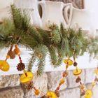 Гирлянда из шишек и цитрусовых над камином. (новый год,рождество,декор,цитрусовые,лимон,апельсин,мандарин,ёлка,сделай сам,самоделки,интерьер,дизайн интерьера)