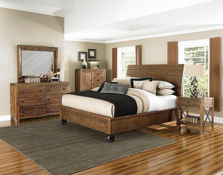Большая кровать на роликах в современной спальне [Дизайн: Bana Home Décor & Gifts]