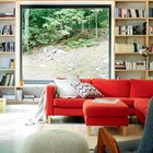 Когда дом находится в живописном лесу, есть смысл деать большие видовые окна. Книжные полки во всю стену не занимают места в комнате.