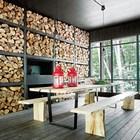 Крытая терраса с барбекю. Стеллажи с дровами являются украшением террасы.