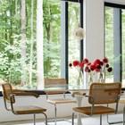 Столовая с огромными окнами из которых открывается вид на кленовый лес.