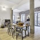 Столовая по сути является центром квартиры. (индустриальный,лофт,винтаж,стиль лофт,индустриальный стиль,интерьер,дизайн интерьера,мебель)