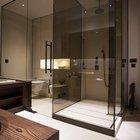 Еще один пример минмалистичного дизайна душевой кабины из тонированного, но прозрачного стекла. (ванна,санузел,душ,туалет,дизайн ванной,интерьер ванной,сантехника,кафель,интерьер,дизайн интерьера,минимализм)