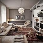 Гостиная отделена от столовой стеллажами. (1950-70е,середина 20-го века,архитектура,дизайн,экстерьер,интерьер,дизайн интерьера,мебель,квартиры,апартаменты,гостиная,дизайн гостиной,интерьер гостиной,мебель для гостиной,жилая комната)