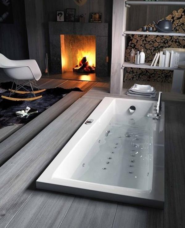 Гидромассажная манна, действующий камин, кресло качалка и большой запас дров - что может быть романтичнее.