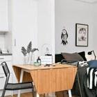 Раскладной обеденный стол - хорошая идея для маленькой квартиры, еще лучше если он легко раскладывается. (скандинавский,интерьер,дизайн интерьера,мебель,квартиры,апартаменты,спальня,дизайн спальни,интерьер спальни,столовая,дизайн столовой,интерьер столовой,мебель для столовой)