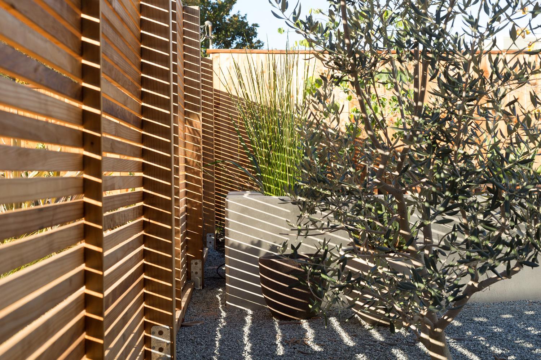 Солнце проходя сквозь ограду играет бликами на дорожках и цветочных вазонах.