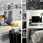 Рядом с кроватью нашлось место небольшому домашнему офису с узкими, но емкими книжными шкафами. (индустриальный,лофт,винтаж,стиль лофт,индустриальный стиль,интерьер,дизайн интерьера,мебель,квартиры,апартаменты,гостиная,дизайн гостиной,интерьер гостиной,мебель для гостиной,домашний офис,офис,мастерская)