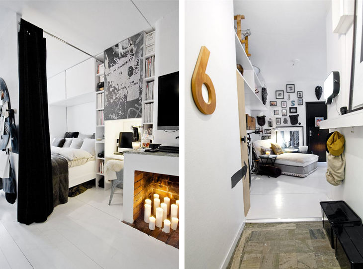 Кровать находящаяся за стеной от кухни может быть задернута плотной ширмой и скрыта от гостей.