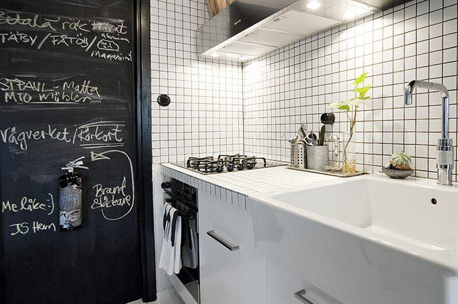 На черной стене рядом с печкой можно рисовать и писать, например написать рецепт или напоминание. Вытяжка гораздо шире печки, поэтому будет эффективно убирать и пар от кастрюли стоящей на столе рядом с печкой.