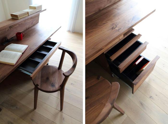 У стола есть один выдвижной ящик, но совместно с ним можно использовать тумбочку на колесах.