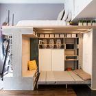 Две полноценные спальни на столь малой площади. (современный,минимализм,интерьер,дизайн интерьера,мебель,квартиры,апартаменты,гостиная,дизайн гостиной,интерьер гостиной,мебель для гостиной,кухня,дизайн кухни,интерьер кухни,кухонная мебель,мебель для кухни,спальня,дизайн спальни,интерьер спальни,хранение,гардероб,шкаф,комод,домашний офис,офис,мастерская,лестница)
