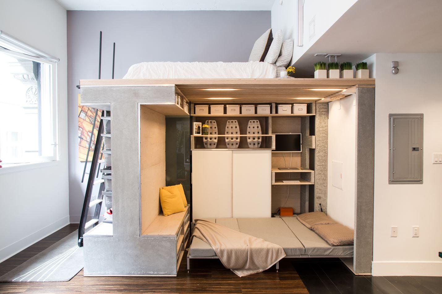 Две полноценные спальни на двух уровнях.