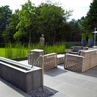 Фонтан в современном стиле (фонтан,пруд,фото,вода,каскад,водопад,терраса,сад,на открытом воздухе,патио)
