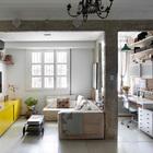 Интересно наблюдать как сочетаются лепнина, голый кирпич и оставленные без отделки балки и столбы. (индустриальный,лофт,винтаж,стиль лофт,индустриальный стиль,эклектика,смешение стилей,архитектура,дизайн,экстерьер,интерьер,дизайн интерьера,мебель,квартиры,апартаменты,гостиная,дизайн гостиной,интерьер гостиной,мебель для гостиной,домашний офис,офис,мастерская)