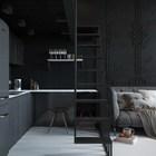 Лестница, кухня и гостиная. (современный,интерьер,дизайн интерьера,мебель,архитектура,дизайн,экстерьер,квартиры,апартаменты,кухня,дизайн кухни,интерьер кухни,кухонная мебель,мебель для кухни,гостиная,дизайн гостиной,интерьер гостиной,мебель для гостиной,лестница)