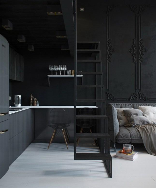 Лестница, кухня и гостиная.