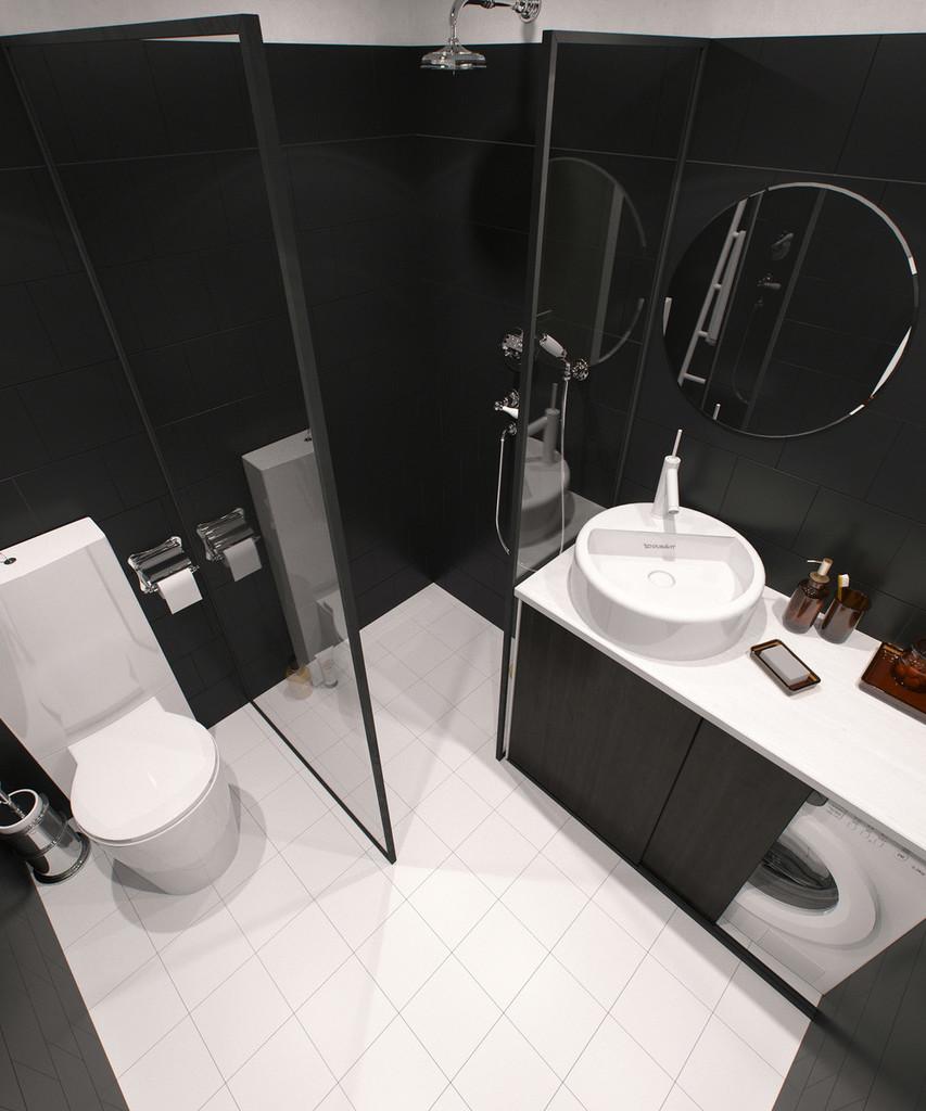 Панорамный вид ванной комнаты.