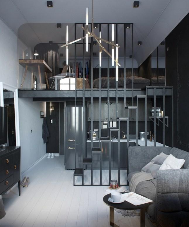 Перегородка между кухней и гостиной служит поручнем для лестницы ведущей на второй уровень.