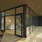 На террасе предусмотрено место для столовой на открытом воздухе. (скандинавский,архитектура,дизайн,экстерьер,интерьер,дизайн интерьера,мебель,вход,прихожая,на открытом воздухе,патио,балкон,терраса)