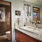 Ванна главной спальни плавучего дома. (индустриальный,лофт,винтаж,стиль лофт,индустриальный стиль,архитектура,дизайн,экстерьер,интерьер,дизайн интерьера,мебель,ванна,санузел,душ,туалет,дизайн ванной,интерьер ванной,сантехника,кафель)