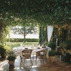 Обеденный стол на террасе под виноградником.