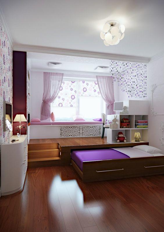 Детская с рабочей/офисной частью поднятой на подиуме и кроватью прячущейся в подиум.