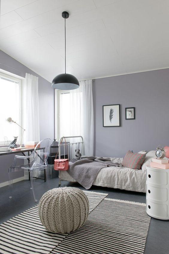 Серый интерьер детской в скандинавском стиле.
