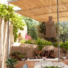 Тенистая терраса с виноградом и соломенной крышей. (архитектура,дизайн,экстерьер,мебель,интерьер,дизайн интерьера,средиземноморский,на открытом воздухе,патио,балкон,терраса)
