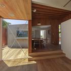 Гостинная, с видом на столовую и кухню, вид на террасу (столовая,гостинная,на открытом воздухе,патио)