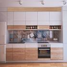 Фасад кухни - это комбинация светлого дерева и нейтральных белых фасадов. В такой фасад отлично вписался белый холодильник. (квартиры,апартаменты,мебель,интерьер,дизайн интерьера,скандинавский,кухня,дизайн кухни,интерьер кухни,кухонная мебель,мебель для кухни)