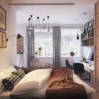 Спальня выделена приподнятым полом. Тут же расположен большой плательный шкаф от пола до потолка, который вмещает всю необходимую одежду. (квартиры,апартаменты,мебель,интерьер,дизайн интерьера,скандинавский,спальня,дизайн спальни,интерьер спальни,домашний офис,офис,мастерская,гостиная,дизайн гостиной,интерьер гостиной,мебель для гостиной)
