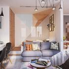 Светлые пастельные тона доминируют в интерьере гостиной, которая одновременно является и спальней. (квартиры,апартаменты,мебель,интерьер,дизайн интерьера,скандинавский,гостиная,дизайн гостиной,интерьер гостиной,мебель для гостиной,спальня,дизайн спальни,интерьер спальни,домашний офис,офис,мастерская)