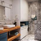 В ванной удалось расположить стиральную машину и объемные шкафы для хранения. (квартиры,апартаменты,мебель,интерьер,дизайн интерьера,скандинавский,ванна,санузел,душ,туалет,дизайн ванной,интерьер ванной,сантехника,кафель)