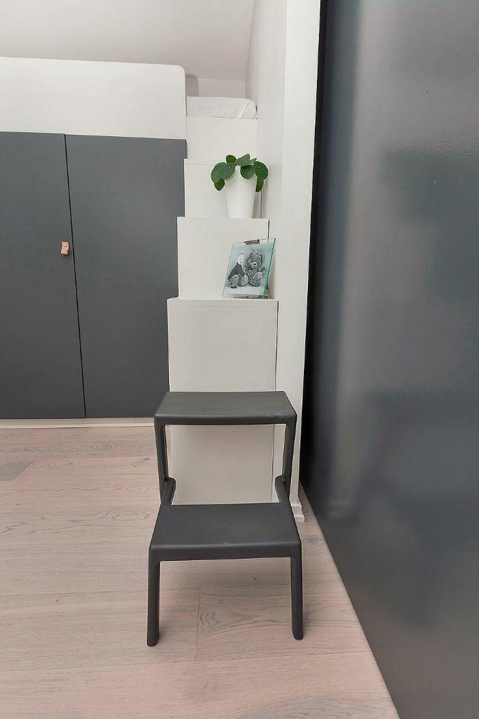 Приставная лестница в дверном проеме удлиняет лестницу из книжных полок.